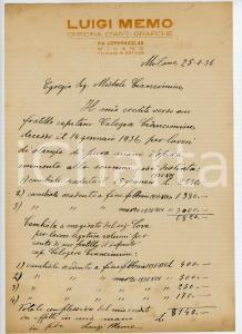 1936 MILANO Lettera tipografo Luigi MEMO per riscossione credito *AUTOGRAFO