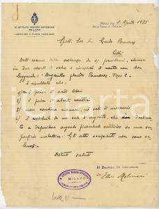 1925 MILANO Lettera chimico Ettore MOLINARI per esame sostanza - AUTOGRAFO