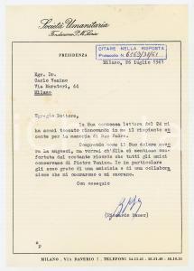 1961 MILANO Società Umanitaria - Condoglianze Riccardo BAUER *AUTOGRAFO