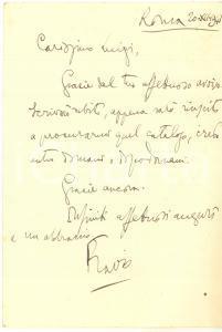 1941 ROMA Cartolina Flavio LOPEZ DE ONATE per ringraziamento *Autografo