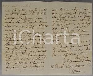 1908 PALERMO Lettera sen. Gabriele BORDONARO sulla Società Sicula - AUTOGRAFO