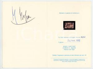 1992 TV ITALIA UNO L'Appello del Martedì - Biglietto Maurizio MOSCA *AUTOGRAFO