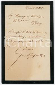 1889 TORINO Lettera Guido FUSINATO per saldo spedizione libri - AUTOGRAFO