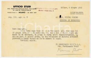 1946 MILANO Lettera Ferdinando PRAT - Ufficio Studi Partito Comunista *AUTOGRAFO