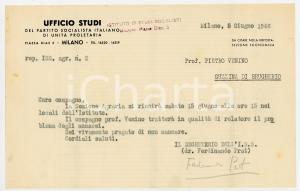 1946 MILANO Lettera Ferdinando PRAT - Ufficio Studi Partito Comunista ^AUTOGRAFO