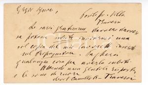 1881 POSILLIPO Camillo ANTONA TRAVERSI chiede testo a ROMAGNOLI - AUTOGRAFO