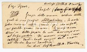 1881 POSILLIPO Camillo ANTONA TRAVERSI a ROMAGNOLI per stampati *AUTOGRAFO