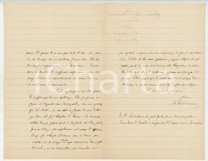 1886 PISA Lettera Alessandro D'ANCONA per spedizione in campagna - AUTOGRAFO