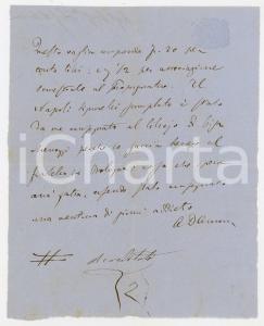 1885 ca PISA Biglietto Alessandro D'ANCONA per saldo