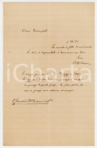 1883 PISA Lettera Alessandro D'ANCONA per auguri e saldo libri - AUTOGRAFO