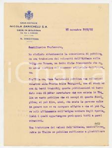 1932 BOLOGNA Lettera Ezio DELLA MONICA per traduzione Altheim - AUTOGRAFO