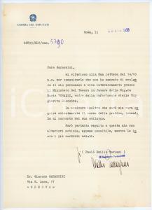 1958 ROMA Camera dei Deputati - Lettera Walter PACCAGNINI per pratica- AUTOGRAFO