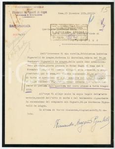 1939 ROMA Fernando ARAGONA PIGNATELLI pro interessi di famiglia AUTOGRAFO