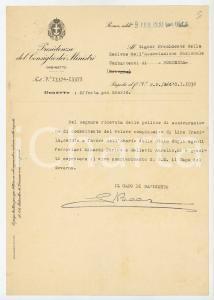 1930 ROMA Lettera Capo di Gabinetto Guido BEER per cessione polizze - AUTOGRAFO