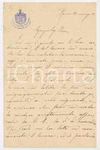 1902 ROMA Ministero Tesoro - Lettera Ragioneria dello Stato per ritratto del Re