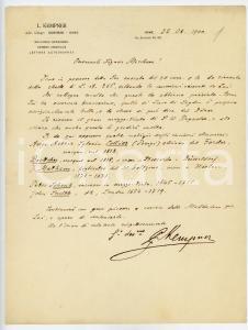 1900 ROMA Lettera Louis KEMPNER per vendita di incisioni - AUTOGRAFO