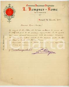 1901 ROMA Lettera Louis KEMPNER per una vendita di incisioni - AUTOGRAFO