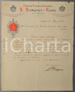 1903 ROMA Antiquario Louis KEMPNER chiude il negozio per l'estate - AUTOGRAFO