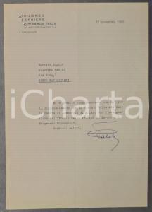 1965 MILANO Lettera presidente Giovanni FALCK per congratulazioni - AUTOGRAFO