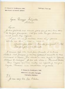 1925 ca COPENHAGEN Clarinettista P. NORLUND a Giuseppe FRUGATTA *Autografo