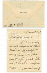 1936 GENOVA Lettera prof. Renato RIZZOLI in ricordo di Giuseppe Frugatta