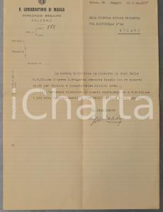 1936 PALERMO Lettera presidente Conservatorio