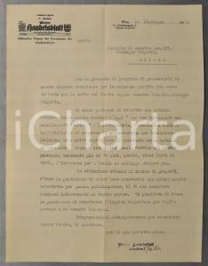 1933 WIEN Lettera Hermann REITZER per necrologio sul WIENER HANDELSBLATT
