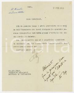 1918 ROMA Ministro Luigi DARI nega nomina a un raccomandato - AUTOGRAFO