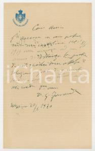 1920 MESSINA Lettera on. Giuseppe FARANDA per istanza in sospeso - AUTOGRAFO
