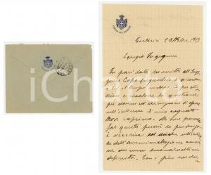 1913 TORTORICI Lettera on. Giuseppe FARANDA per affare del cognato - AUTOGRAFO