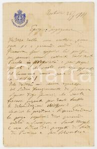 1922 TORTORICI Lettera on. Giuseppe FARANDA per esecuzione perizia - AUTOGRAFO