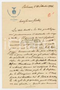 1926 PALERMO Lettera Ennio CARAPEZZA TEDALDI per il figlio arruolato - AUTOGRAFO