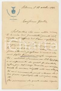 1926 PALERMO Lettera Ennio CARAPEZZA TEDALDI per il figlio escluso - AUTOGRAFO