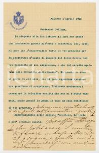 1915 PALERMO Lettera on. Aurelio DRAGO per conduttura di Raccuja - AUTOGRAFO