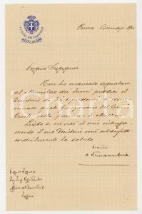 1910 ROMA Lettera Camillo FINOCCHIARO APRILE pro ing. Giulio ROSSI - AUTOGRAFO