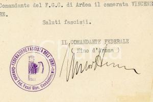 1932 ROMA PNF Lettera Nino d'AROMA per nomina Vincenzo Re - AUTOGRAFO