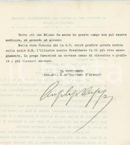 1936 MILANO Lettera Giuseppe DE CAPITANI D'ARZAGO a Leo Pollini - AUTOGRAFO