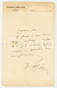 1950 ca Università di FIRENZE Lettera Gabriele SALVIOLI per auguri - AUTOGRAFO
