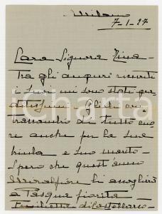 1927 MILANO Lettera nobildonna Emilia di CASTELBARCO per auguri *AUTOGRAFO