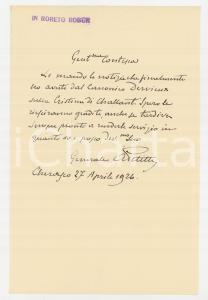 1926 CHERASCO Lettera generalem A. PETITTI DI RORETO - AUTOGRAFO