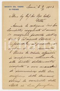1923 FIRENZE Società del CASINO - Lettera per domanda adesione *Carta intestata