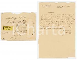 1890 BZENEC / BISENZ Lettera rabbino Samuel Aron TAUBELES per ringraziamento