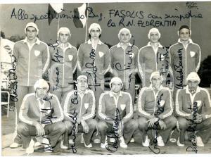 1970 ca PALLANUOTO RARI NANTES FLORENTIA Foto squadra con AUTOGRAFI 17x13