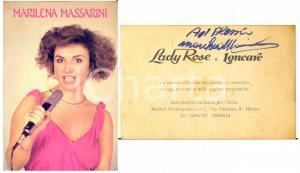 1980 ca Cantante Marilena MASSARINI - Cartoncino LADY ROSE con AUTOGRAFO