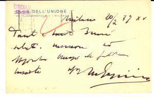 1937 MILANO CIRCOLO DELL'UNIONE Cartolina postale FP VG