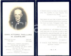 1939 GENOVA In memoria di Vittorio THELLUNG DE COURTELARY *Santino ritratto