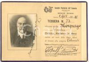 1933 GENOVA Consiglio Provinciale Economia - Tessera Giulio MORPURGO mediatore