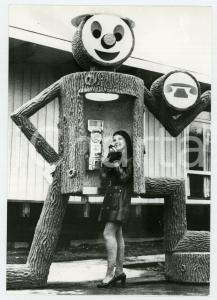 1971 PRINCE GEORGE BRITISH COLUMBIA Curiosa cabina telefonica a forma di tronco