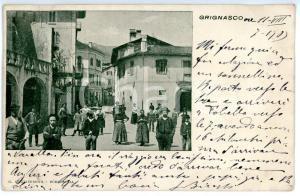 1903 GRIGNASCO (NO) Veduta di piazza Vittorio CACCIAMI *Cartolina ANIMATA FP VG