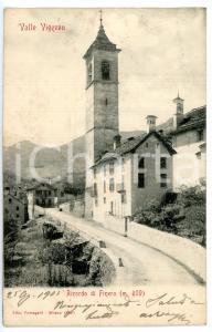 1905 MALESCO - FINERO (VB) Veduta con chiesa di SAN GOTTARDO *Cartolina FP VG